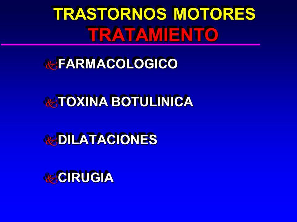 TRASTORNOS MOTORES TRATAMIENTO TRASTORNOS MOTORES TRATAMIENTO k FARMACOLOGICO k TOXINA BOTULINICA k DILATACIONES k CIRUGIA k FARMACOLOGICO k TOXINA BOTULINICA k DILATACIONES k CIRUGIA