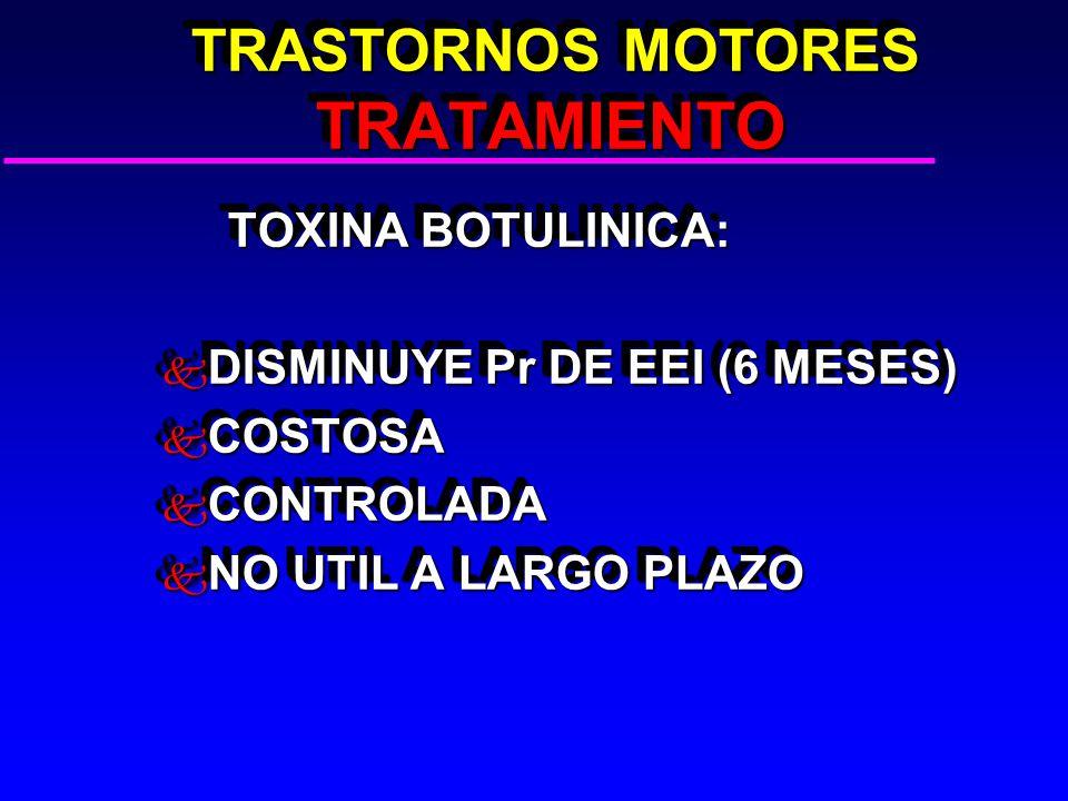 TRASTORNOS MOTORES TRATAMIENTO TRASTORNOS MOTORES TRATAMIENTO TOXINA BOTULINICA: TOXINA BOTULINICA: k DISMINUYE Pr DE EEI (6 MESES) k COSTOSA k CONTROLADA k NO UTIL A LARGO PLAZO TOXINA BOTULINICA: TOXINA BOTULINICA: k DISMINUYE Pr DE EEI (6 MESES) k COSTOSA k CONTROLADA k NO UTIL A LARGO PLAZO