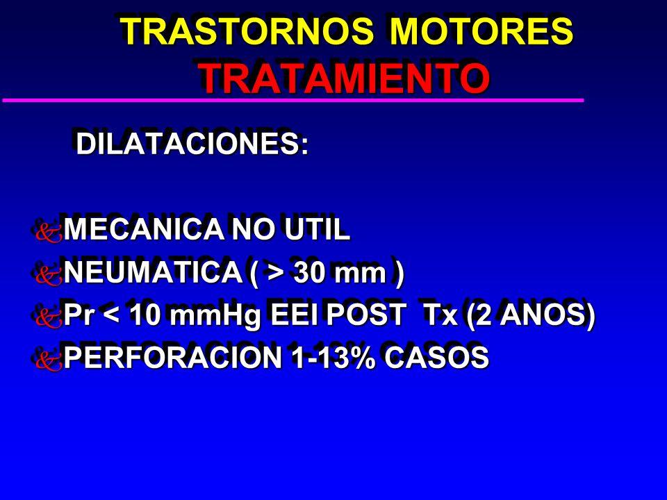 TRASTORNOS MOTORES TRATAMIENTO TRASTORNOS MOTORES TRATAMIENTO DILATACIONES: DILATACIONES: k MECANICA NO UTIL k NEUMATICA ( > 30 mm ) k Pr < 10 mmHg EEI POST Tx (2 ANOS) k PERFORACION 1-13% CASOS DILATACIONES: DILATACIONES: k MECANICA NO UTIL k NEUMATICA ( > 30 mm ) k Pr < 10 mmHg EEI POST Tx (2 ANOS) k PERFORACION 1-13% CASOS