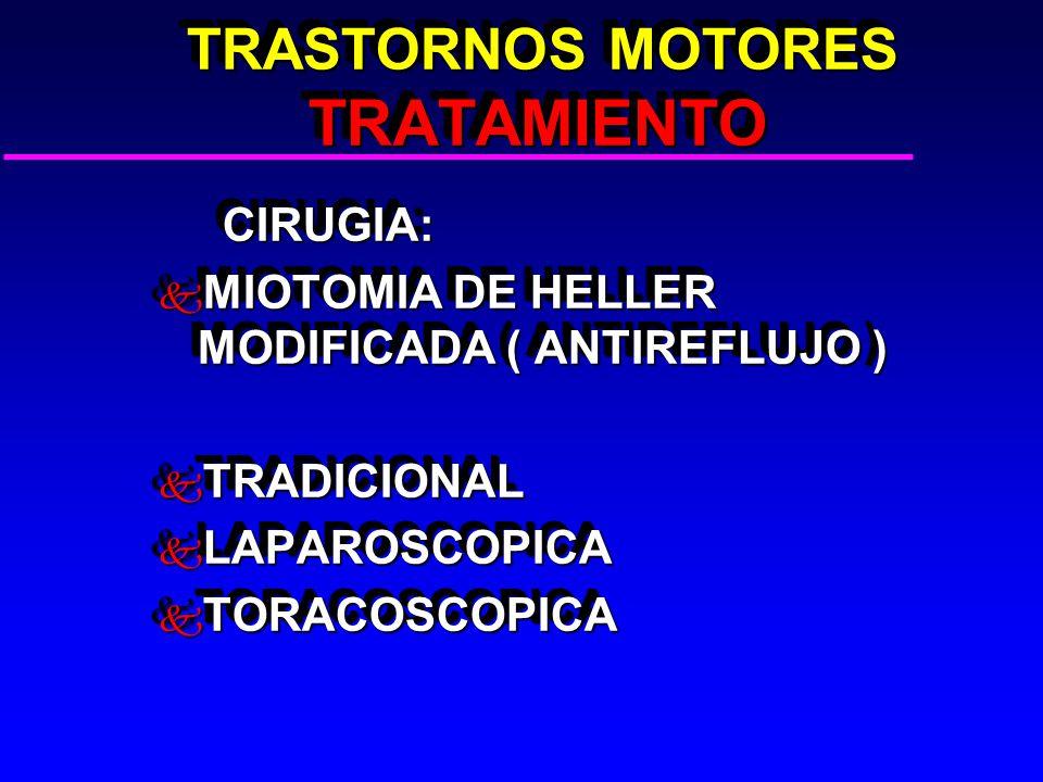 TRASTORNOS MOTORES TRATAMIENTO TRASTORNOS MOTORES TRATAMIENTO CIRUGIA: CIRUGIA: k MIOTOMIA DE HELLER MODIFICADA ( ANTIREFLUJO ) k TRADICIONAL k LAPAROSCOPICA k TORACOSCOPICA CIRUGIA: CIRUGIA: k MIOTOMIA DE HELLER MODIFICADA ( ANTIREFLUJO ) k TRADICIONAL k LAPAROSCOPICA k TORACOSCOPICA