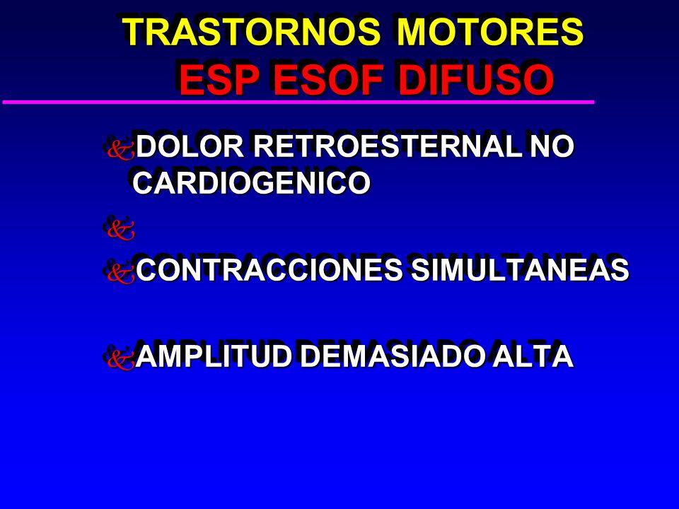TRASTORNOS MOTORES ESP ESOF DIFUSO TRASTORNOS MOTORES ESP ESOF DIFUSO k DOLOR RETROESTERNAL NO CARDIOGENICO k k CONTRACCIONES SIMULTANEAS k AMPLITUD DEMASIADO ALTA k DOLOR RETROESTERNAL NO CARDIOGENICO k k CONTRACCIONES SIMULTANEAS k AMPLITUD DEMASIADO ALTA