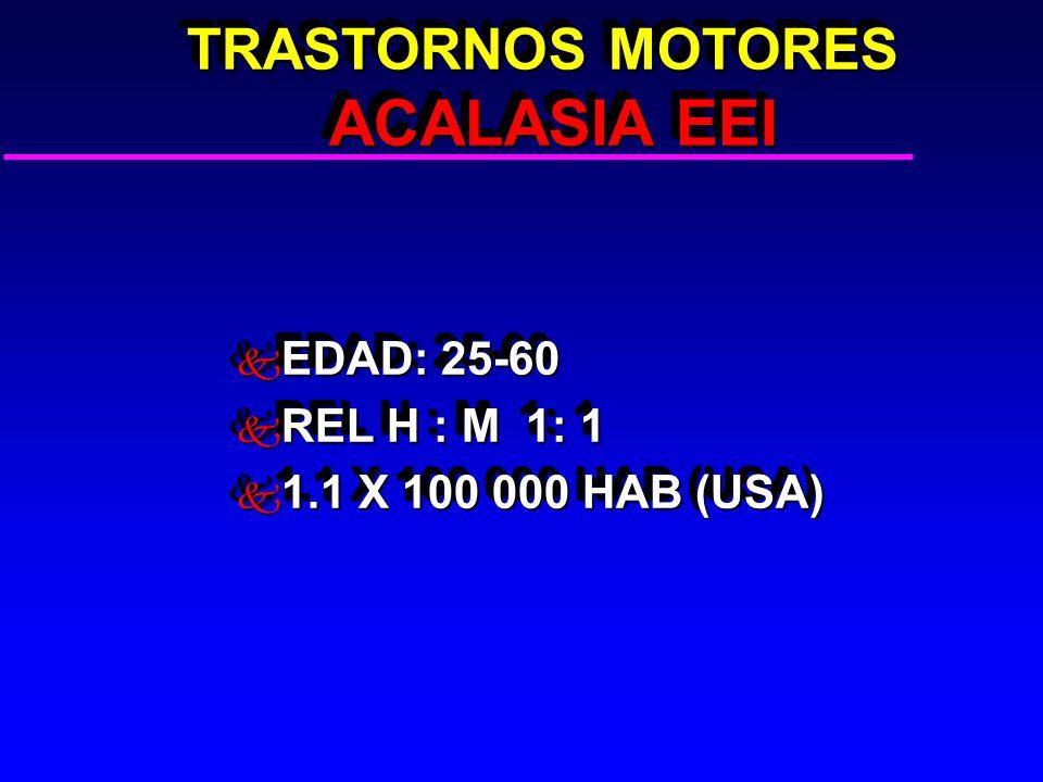 TRASTORNOS MOTORES ACALASIA EEI TRASTORNOS MOTORES ACALASIA EEI k EDAD: 25-60 k REL H : M 1: 1 k 1.1 X 100 000 HAB (USA) k EDAD: 25-60 k REL H : M 1: 1 k 1.1 X 100 000 HAB (USA)