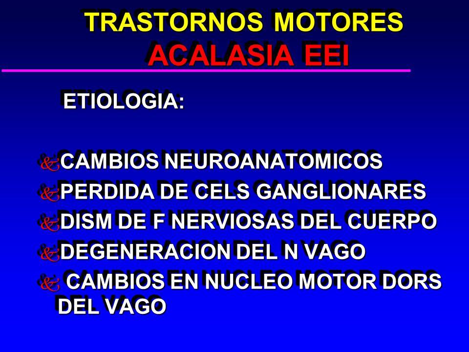 TRASTORNOS MOTORES ACALASIA EEI TRASTORNOS MOTORES ACALASIA EEI ETIOLOGIA: ETIOLOGIA: k CAMBIOS NEUROANATOMICOS k PERDIDA DE CELS GANGLIONARES k DISM DE F NERVIOSAS DEL CUERPO k DEGENERACION DEL N VAGO k CAMBIOS EN NUCLEO MOTOR DORS DEL VAGO ETIOLOGIA: ETIOLOGIA: k CAMBIOS NEUROANATOMICOS k PERDIDA DE CELS GANGLIONARES k DISM DE F NERVIOSAS DEL CUERPO k DEGENERACION DEL N VAGO k CAMBIOS EN NUCLEO MOTOR DORS DEL VAGO