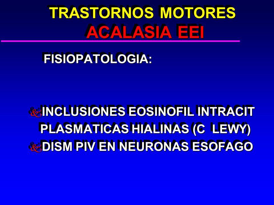 TRASTORNOS MOTORES ACALASIA EEI TRASTORNOS MOTORES ACALASIA EEI FISIOPATOLOGIA: FISIOPATOLOGIA: k INCLUSIONES EOSINOFIL INTRACIT PLASMATICAS HIALINAS (C LEWY) PLASMATICAS HIALINAS (C LEWY) k DISM PIV EN NEURONAS ESOFAGO FISIOPATOLOGIA: FISIOPATOLOGIA: k INCLUSIONES EOSINOFIL INTRACIT PLASMATICAS HIALINAS (C LEWY) PLASMATICAS HIALINAS (C LEWY) k DISM PIV EN NEURONAS ESOFAGO