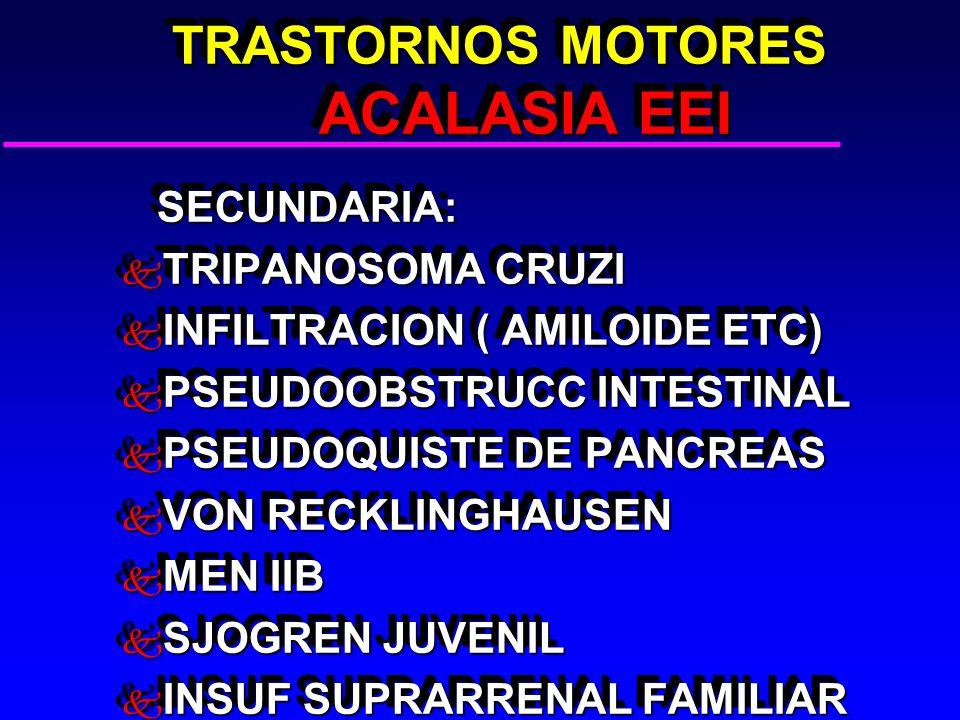 TRASTORNOS MOTORES ACALASIA EEI TRASTORNOS MOTORES ACALASIA EEI SECUNDARIA: SECUNDARIA: k TRIPANOSOMA CRUZI k INFILTRACION ( AMILOIDE ETC) k PSEUDOOBSTRUCC INTESTINAL k PSEUDOQUISTE DE PANCREAS k VON RECKLINGHAUSEN k MEN IIB k SJOGREN JUVENIL k INSUF SUPRARRENAL FAMILIAR SECUNDARIA: SECUNDARIA: k TRIPANOSOMA CRUZI k INFILTRACION ( AMILOIDE ETC) k PSEUDOOBSTRUCC INTESTINAL k PSEUDOQUISTE DE PANCREAS k VON RECKLINGHAUSEN k MEN IIB k SJOGREN JUVENIL k INSUF SUPRARRENAL FAMILIAR