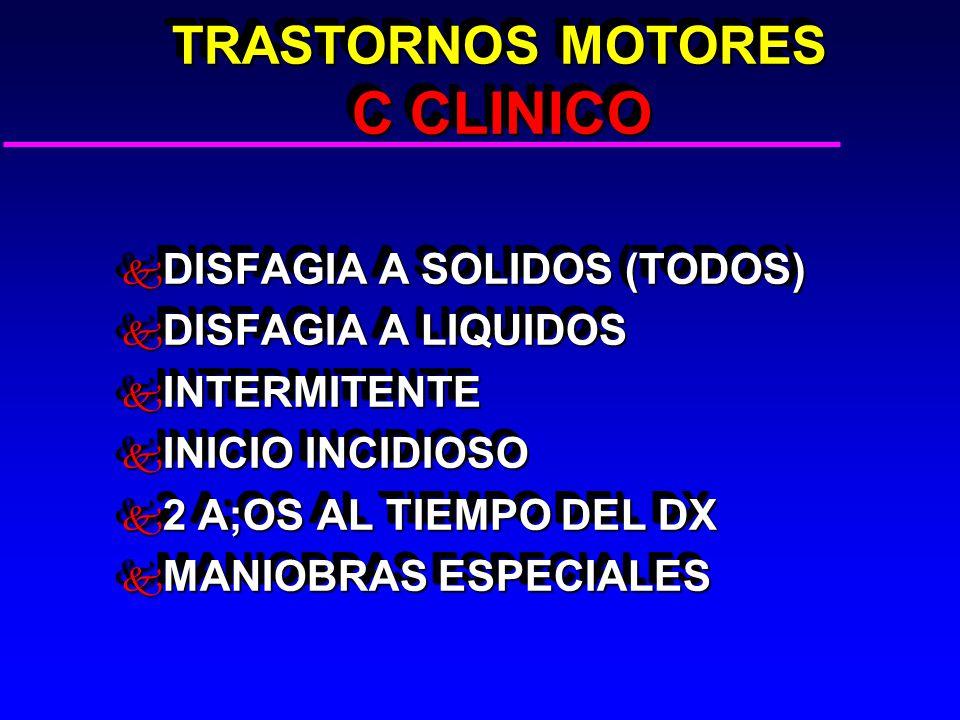 TRASTORNOS MOTORES C CLINICO TRASTORNOS MOTORES C CLINICO k DISFAGIA A SOLIDOS (TODOS) k DISFAGIA A LIQUIDOS k INTERMITENTE k INICIO INCIDIOSO k 2 A;OS AL TIEMPO DEL DX k MANIOBRAS ESPECIALES k DISFAGIA A SOLIDOS (TODOS) k DISFAGIA A LIQUIDOS k INTERMITENTE k INICIO INCIDIOSO k 2 A;OS AL TIEMPO DEL DX k MANIOBRAS ESPECIALES