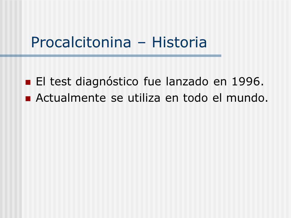 Procalcitonina – Historia El test diagnóstico fue lanzado en 1996. Actualmente se utiliza en todo el mundo.