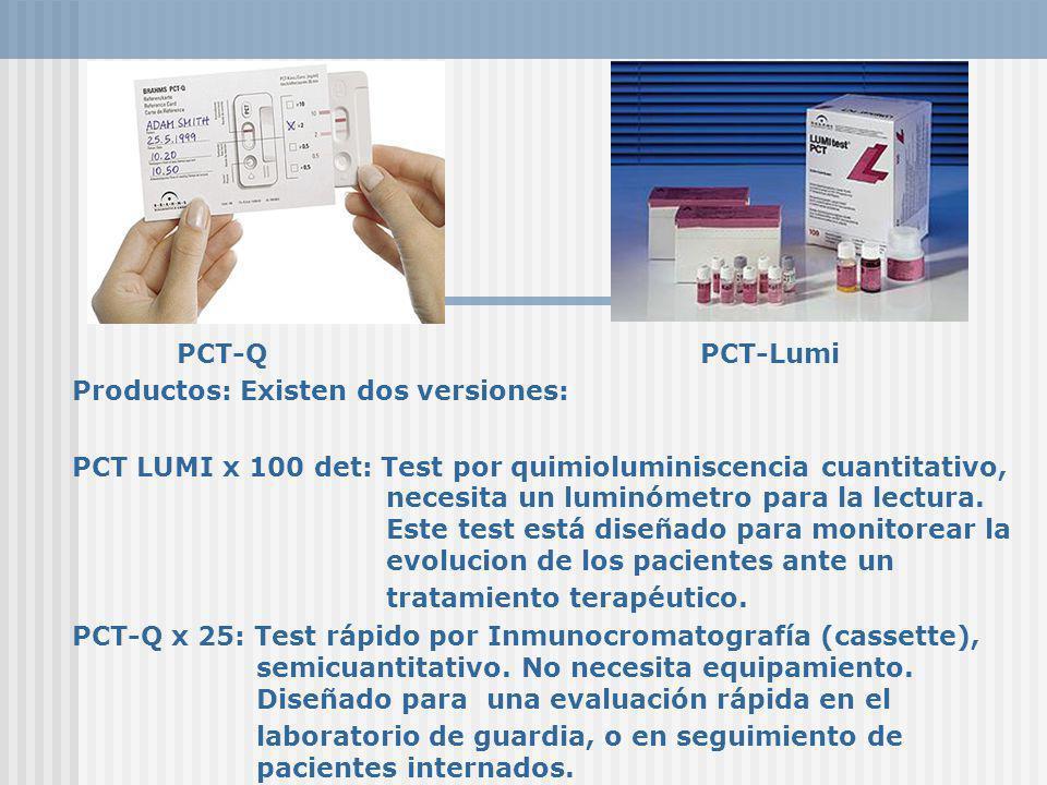 PCT-QPCT-Lumi Productos: Existen dos versiones: PCT LUMI x 100 det: Test por quimioluminiscencia cuantitativo, necesita un luminómetro para la lectura