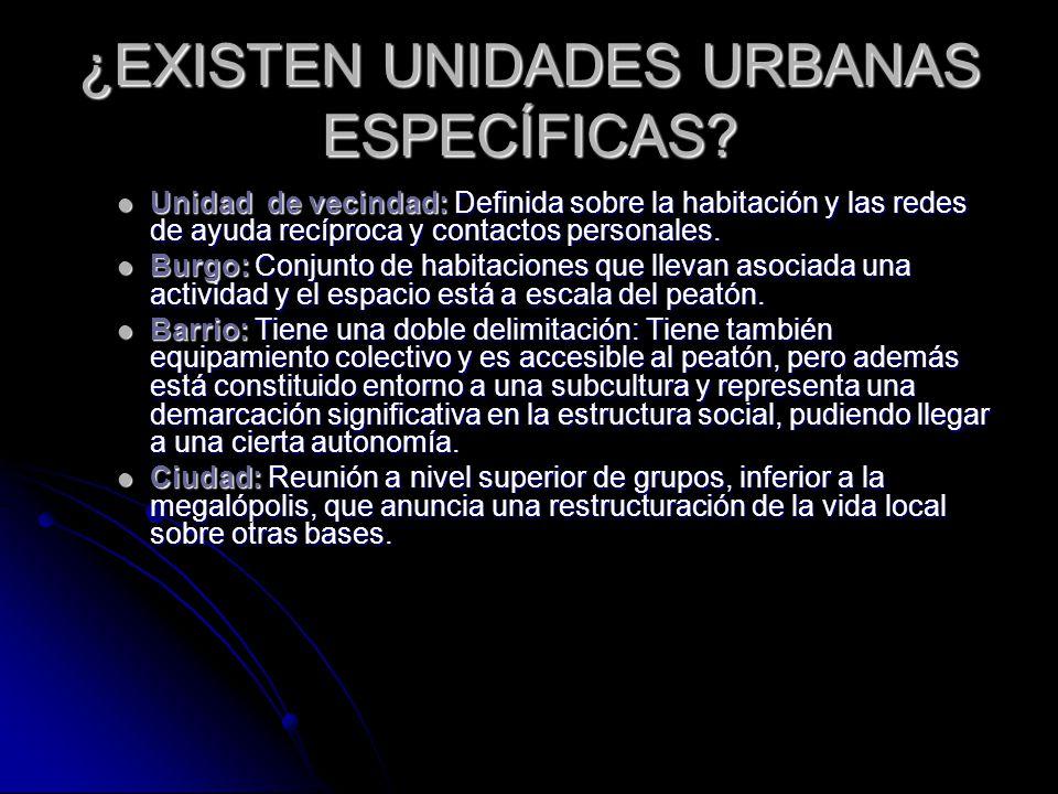 ¿EXISTEN UNIDADES URBANAS ESPECÍFICAS.