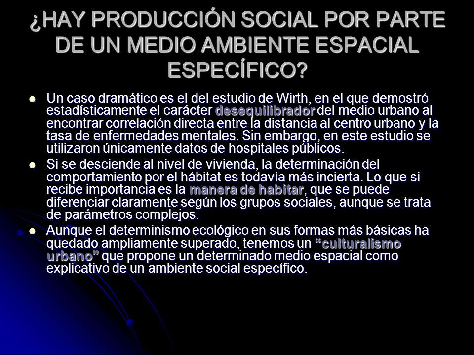 ¿HAY PRODUCCIÓN SOCIAL POR PARTE DE UN MEDIO AMBIENTE ESPACIAL ESPECÍFICO.
