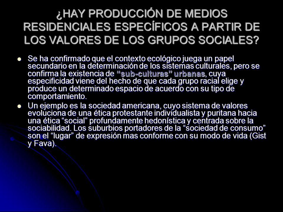 ¿HAY PRODUCCIÓN DE MEDIOS RESIDENCIALES ESPECÍFICOS A PARTIR DE LOS VALORES DE LOS GRUPOS SOCIALES.