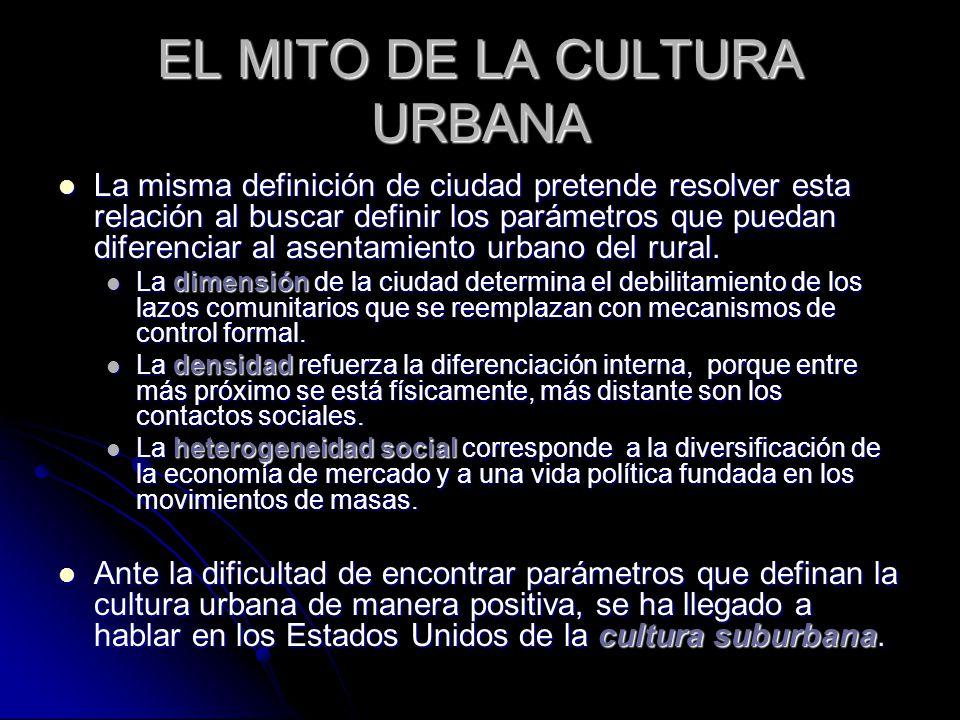 EL MITO DE LA CULTURA URBANA La misma definición de ciudad pretende resolver esta relación al buscar definir los parámetros que puedan diferenciar al asentamiento urbano del rural.