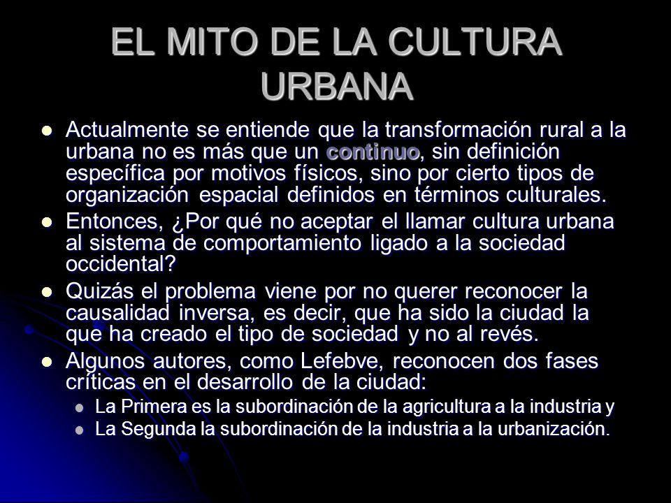 EL MITO DE LA CULTURA URBANA Actualmente se entiende que la transformación rural a la urbana no es más que un continuo, sin definición específica por motivos físicos, sino por cierto tipos de organización espacial definidos en términos culturales.