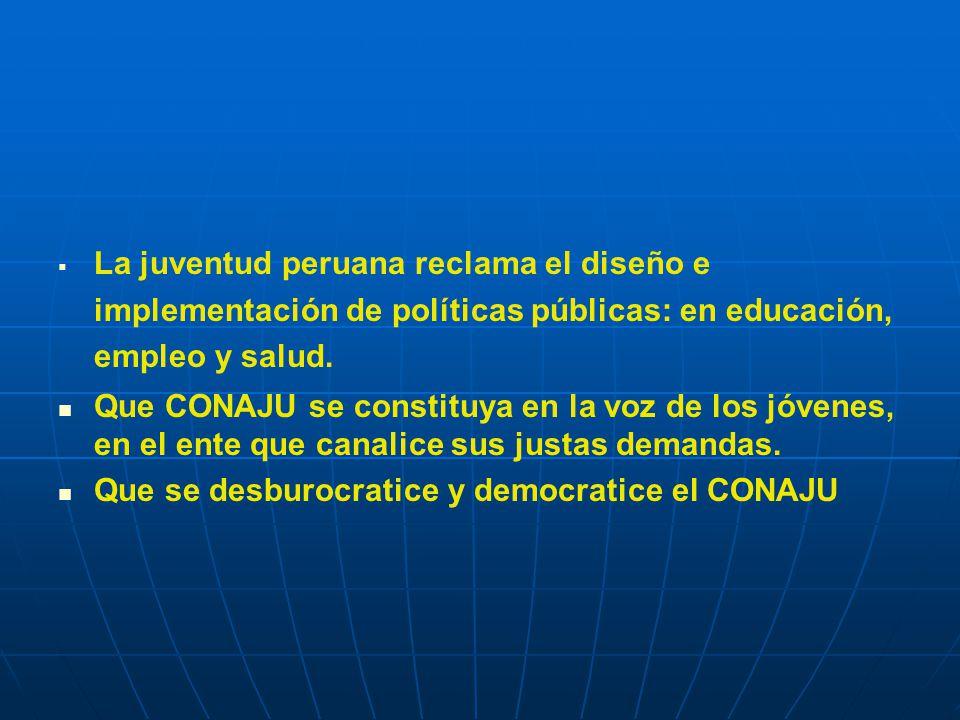 La juventud peruana reclama el diseño e implementación de políticas públicas: en educación, empleo y salud.