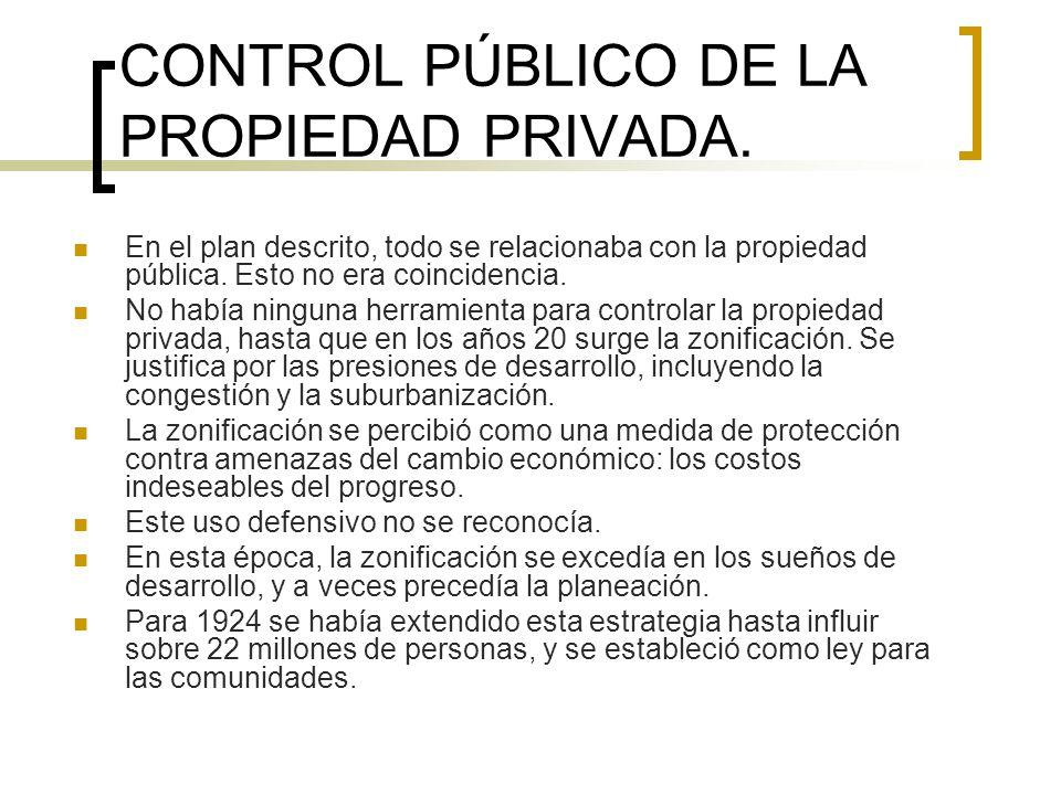 CONTROL PÚBLICO DE LA PROPIEDAD PRIVADA. En el plan descrito, todo se relacionaba con la propiedad pública. Esto no era coincidencia. No había ninguna
