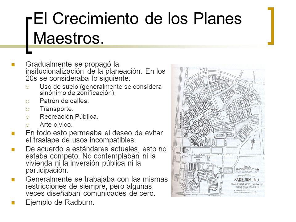 El Crecimiento de los Planes Maestros. Gradualmente se propagó la insitucionalización de la planeación. En los 20s se consideraba lo siguiente: Uso de