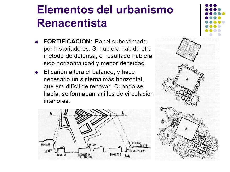 Elementos del urbanismo Renacentista FORTIFICACION: Papel subestimado por historiadores. Si hubiera habido otro método de defensa, el resultado hubier
