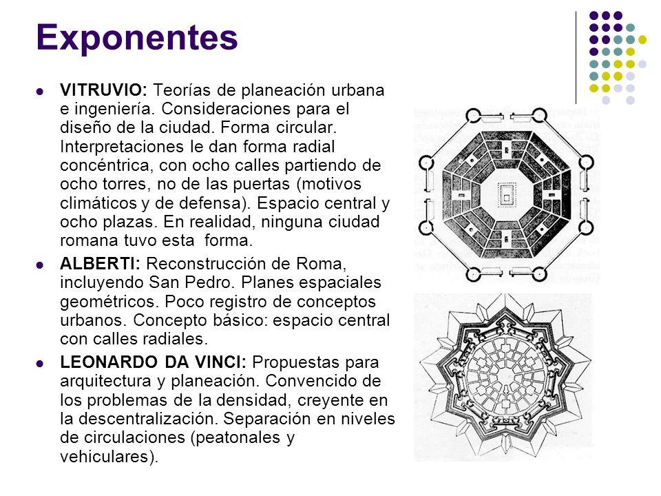 Exponentes VITRUVIO: Teorías de planeación urbana e ingeniería. Consideraciones para el diseño de la ciudad. Forma circular. Interpretaciones le dan f