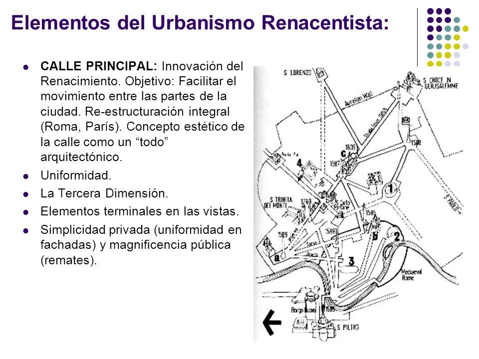 Elementos del Urbanismo Renacentista: CALLE PRINCIPAL: Innovación del Renacimiento. Objetivo: Facilitar el movimiento entre las partes de la ciudad. R