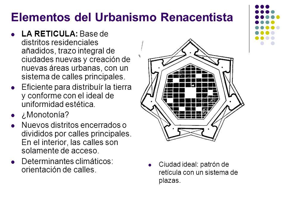 Elementos del Urbanismo Renacentista LA RETICULA: Base de distritos residenciales añadidos, trazo integral de ciudades nuevas y creación de nuevas áreas urbanas, con un sistema de calles principales.