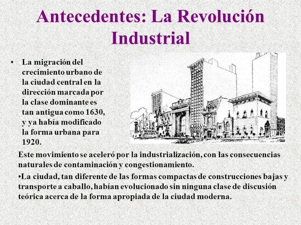 Antecedentes: La Revolución Industrial La migración del crecimiento urbano de la ciudad central en la dirección marcada por la clase dominante es tan