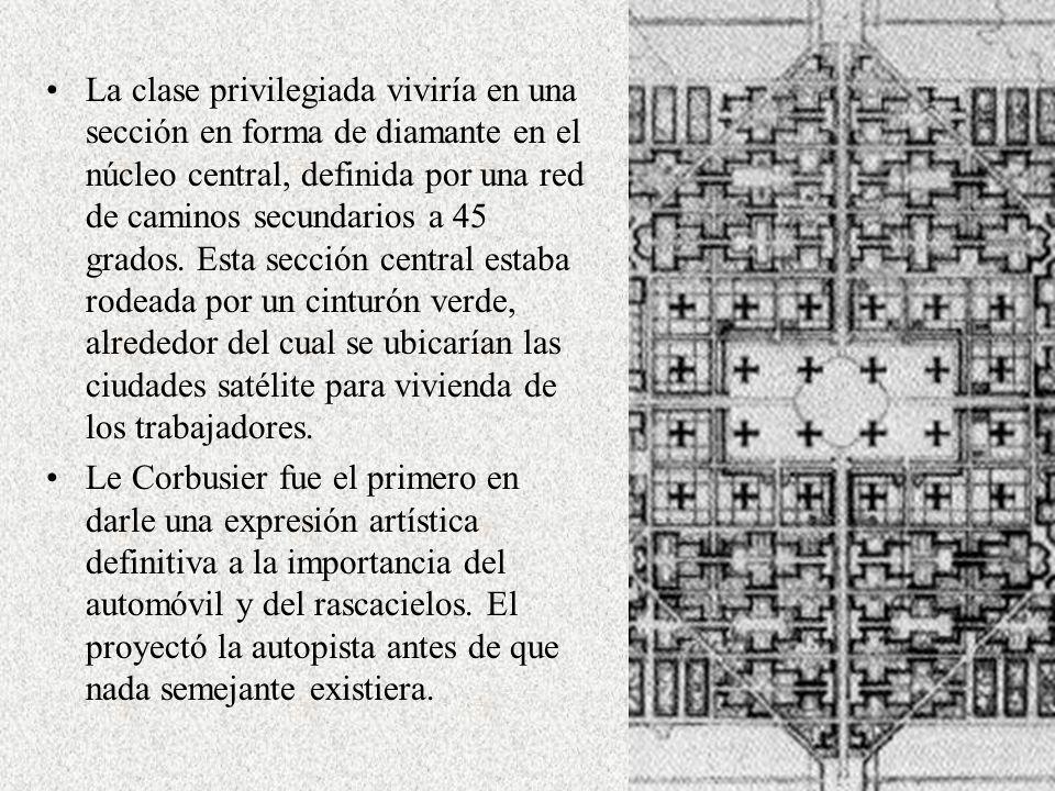 La clase privilegiada viviría en una sección en forma de diamante en el núcleo central, definida por una red de caminos secundarios a 45 grados. Esta