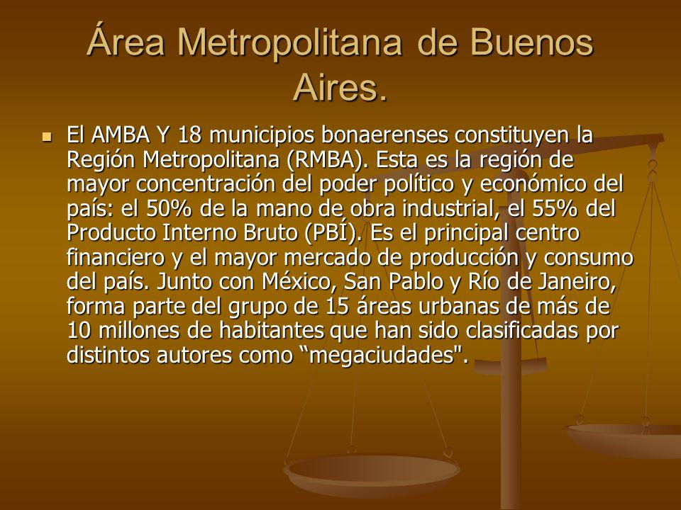 Área Metropolitana de Buenos Aires. El AMBA Y 18 municipios bonaerenses constituyen la Región Metropolitana (RMBA). Esta es la región de mayor concent