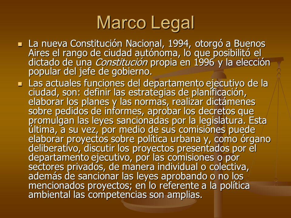 Marco Legal La nueva Constitución Nacional, 1994, otorgó a Buenos Aires el rango de ciudad autónoma, lo que posibilitó el dictado de una Constitución propia en 1996 y la elección popular del jefe de gobierno.