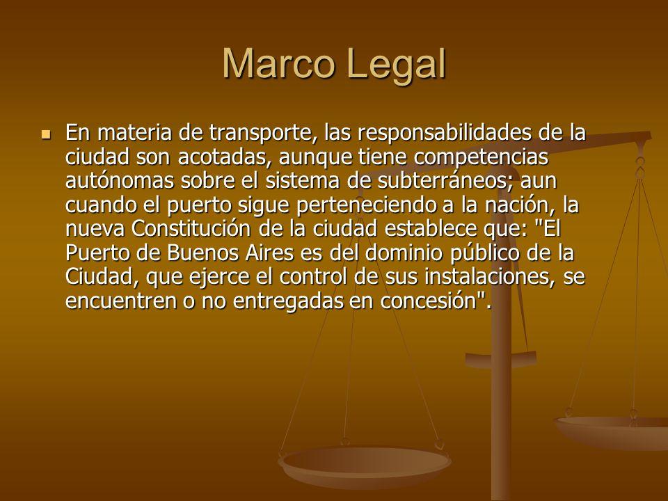 Marco Legal En materia de transporte, las responsabilidades de la ciudad son acotadas, aunque tiene competencias autónomas sobre el sistema de subterr