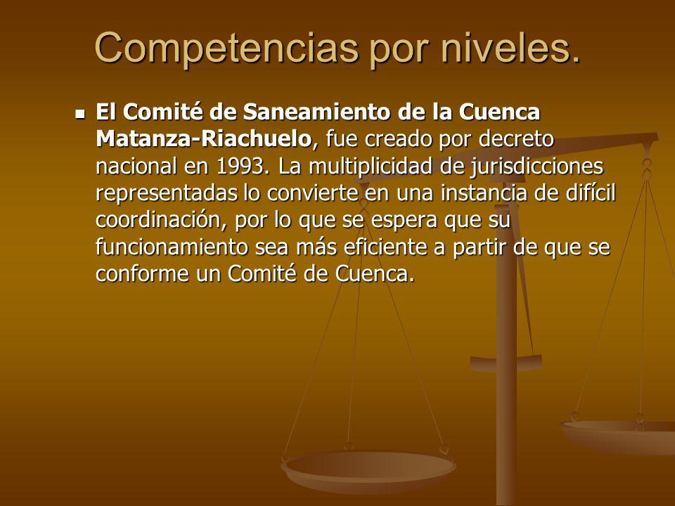 Competencias por niveles. El Comité de Saneamiento de la Cuenca Matanza-Riachuelo, fue creado por decreto nacional en 1993. La multiplicidad de jurisd