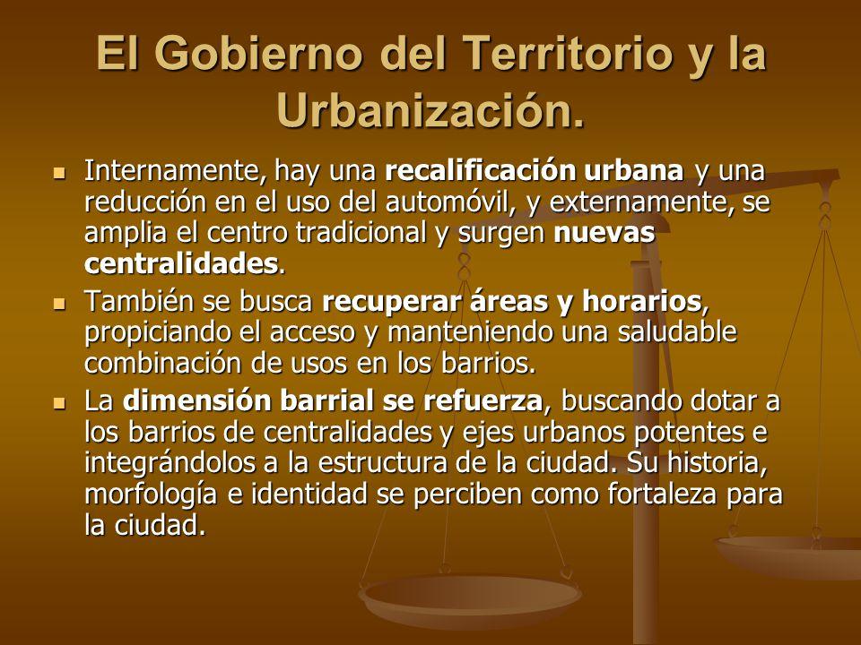 El Gobierno del Territorio y la Urbanización. Internamente, hay una recalificación urbana y una reducción en el uso del automóvil, y externamente, se