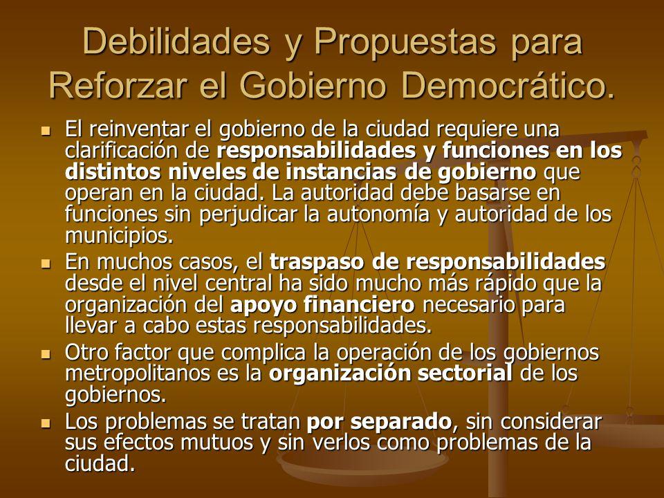 Debilidades y Propuestas para Reforzar el Gobierno Democrático. El reinventar el gobierno de la ciudad requiere una clarificación de responsabilidades