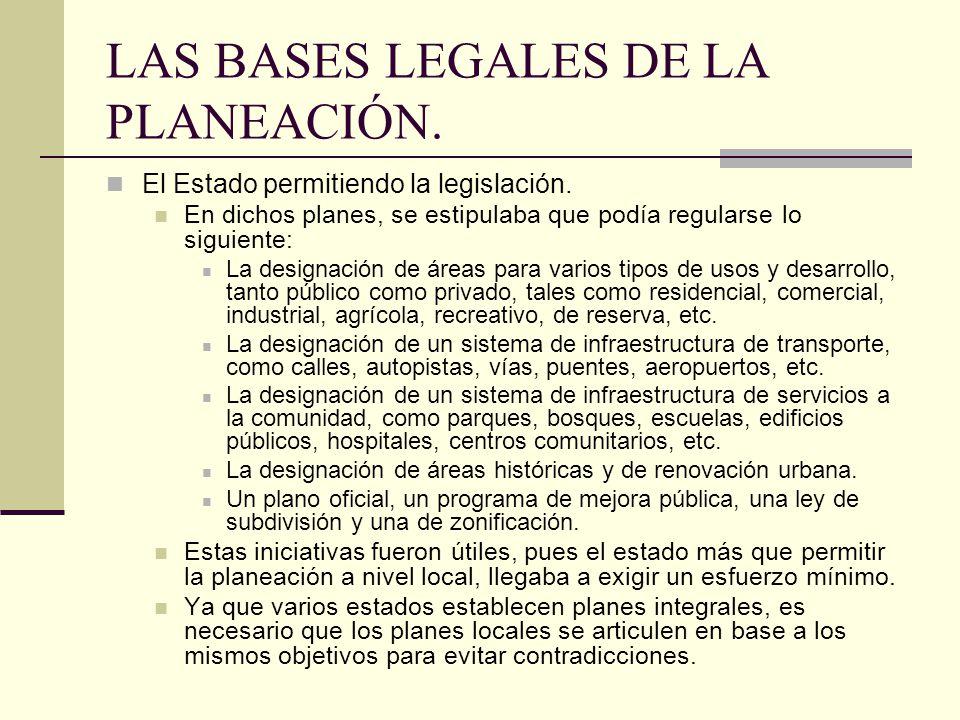 LAS BASES LEGALES DE LA PLANEACIÓN.El Estado permitiendo la legislación.
