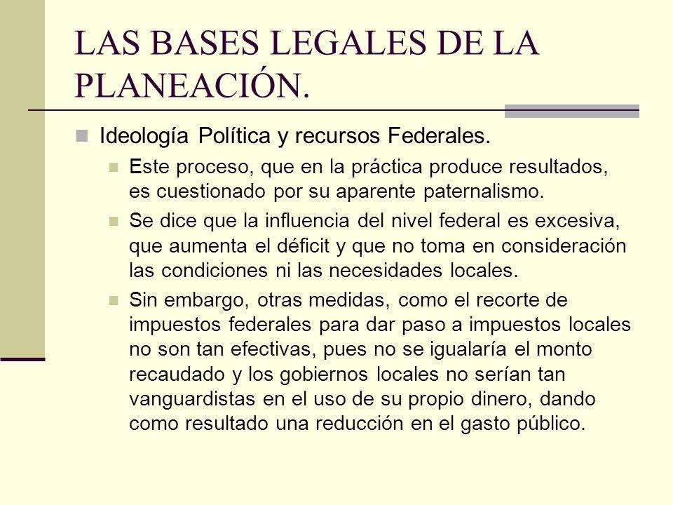 LAS BASES LEGALES DE LA PLANEACIÓN.Ideología Política y recursos Federales.