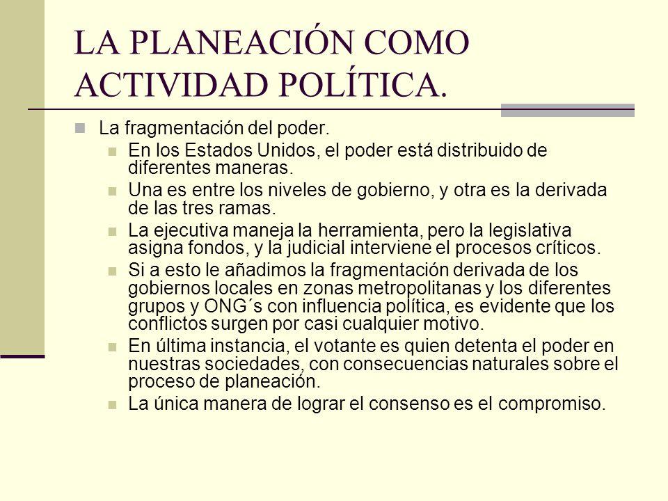 LA PLANEACIÓN COMO ACTIVIDAD POLÍTICA.La fragmentación del poder.