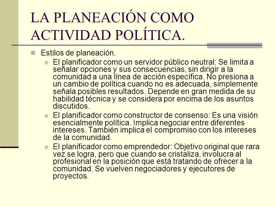 LA PLANEACIÓN COMO ACTIVIDAD POLÍTICA.Estilos de planeación.