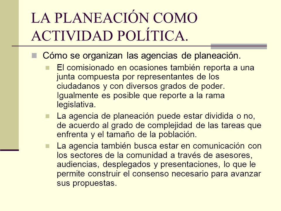 LA PLANEACIÓN COMO ACTIVIDAD POLÍTICA.Cómo se organizan las agencias de planeación.