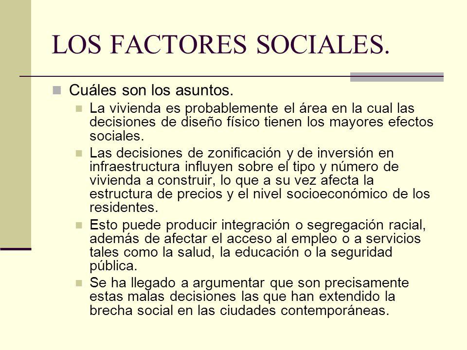 LOS FACTORES SOCIALES.Cuáles son los asuntos.