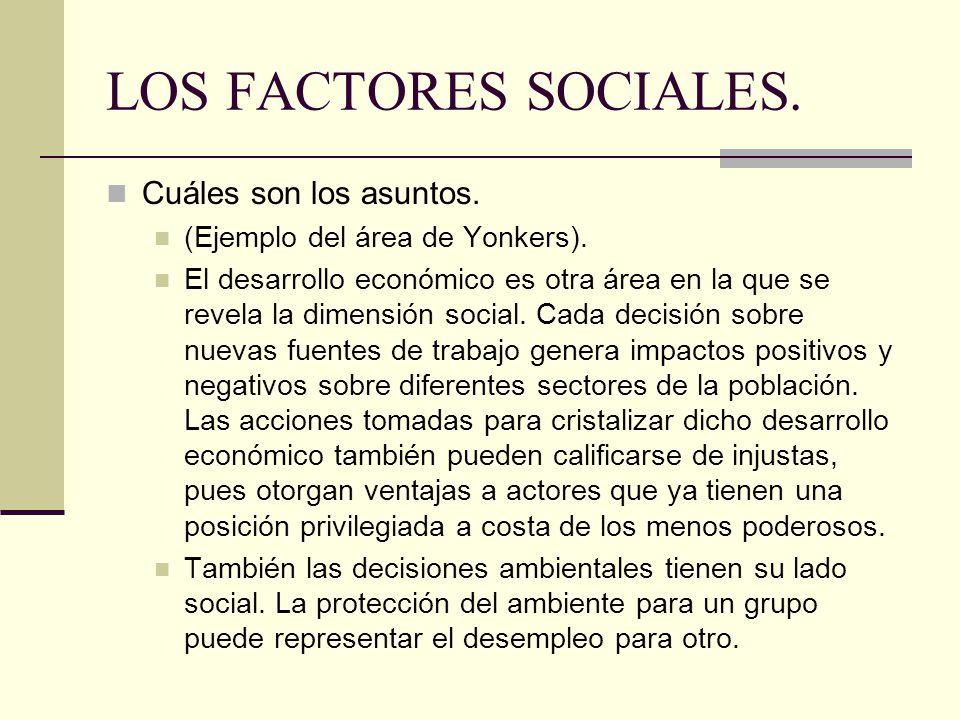 LOS FACTORES SOCIALES.Cuáles son los asuntos. (Ejemplo del área de Yonkers).