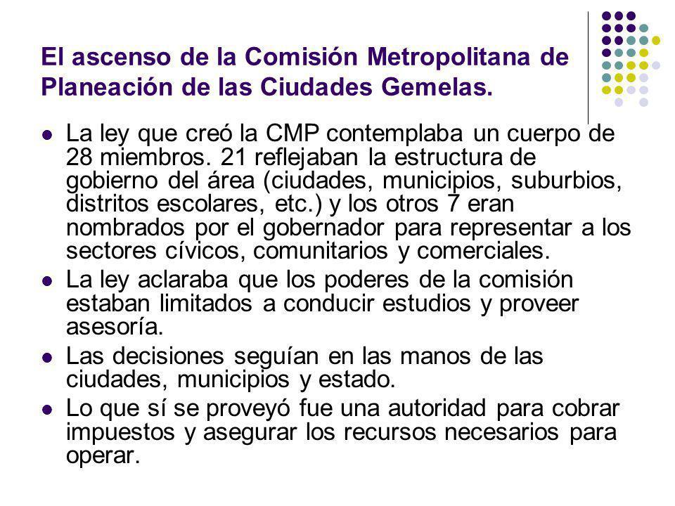 El ascenso de la Comisión Metropolitana de Planeación de las Ciudades Gemelas. La ley que creó la CMP contemplaba un cuerpo de 28 miembros. 21 refleja