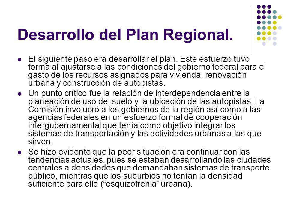 Desarrollo del Plan Regional. El siguiente paso era desarrollar el plan. Este esfuerzo tuvo forma al ajustarse a las condiciones del gobierno federal