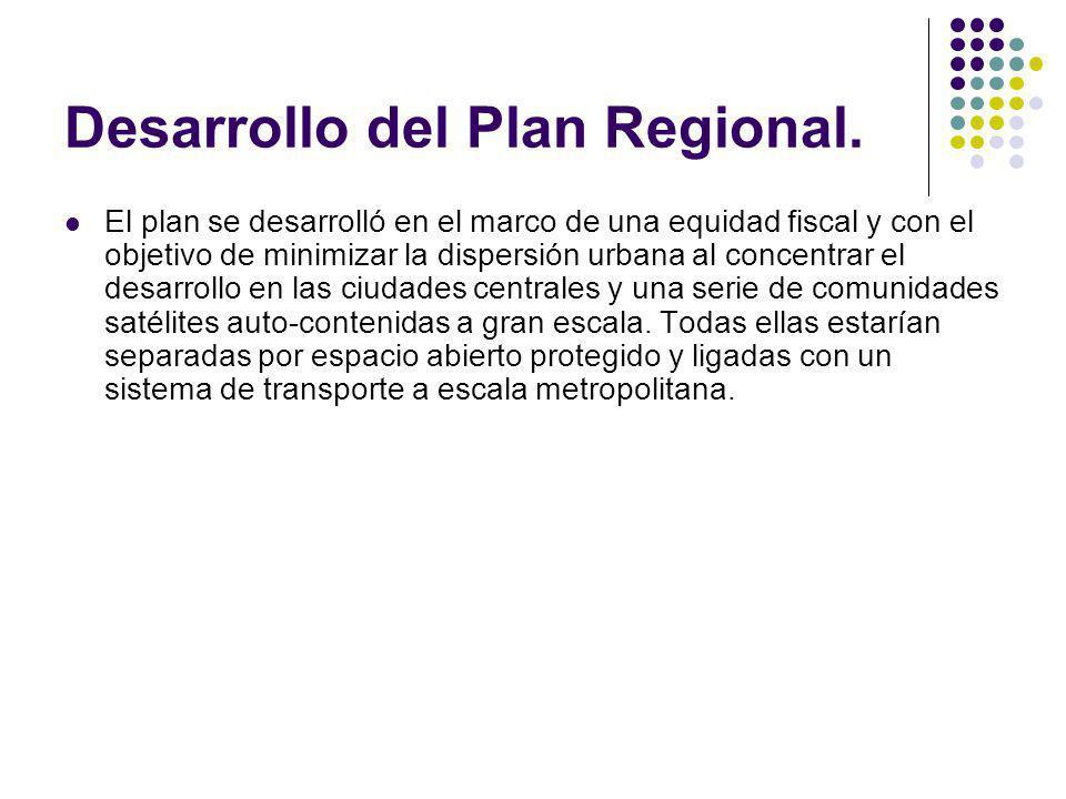 Desarrollo del Plan Regional. El plan se desarrolló en el marco de una equidad fiscal y con el objetivo de minimizar la dispersión urbana al concentra