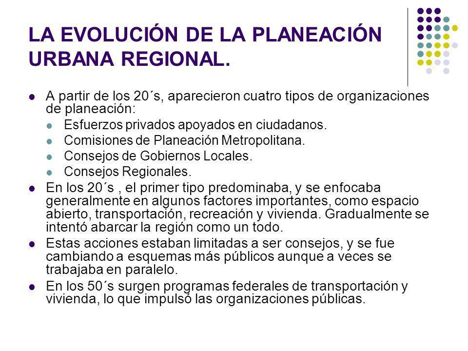 LA EVOLUCIÓN DE LA PLANEACIÓN URBANA REGIONAL. A partir de los 20´s, aparecieron cuatro tipos de organizaciones de planeación: Esfuerzos privados apoy