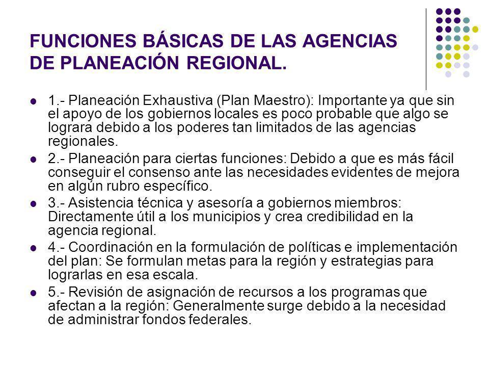 FUNCIONES BÁSICAS DE LAS AGENCIAS DE PLANEACIÓN REGIONAL. 1.- Planeación Exhaustiva (Plan Maestro): Importante ya que sin el apoyo de los gobiernos lo