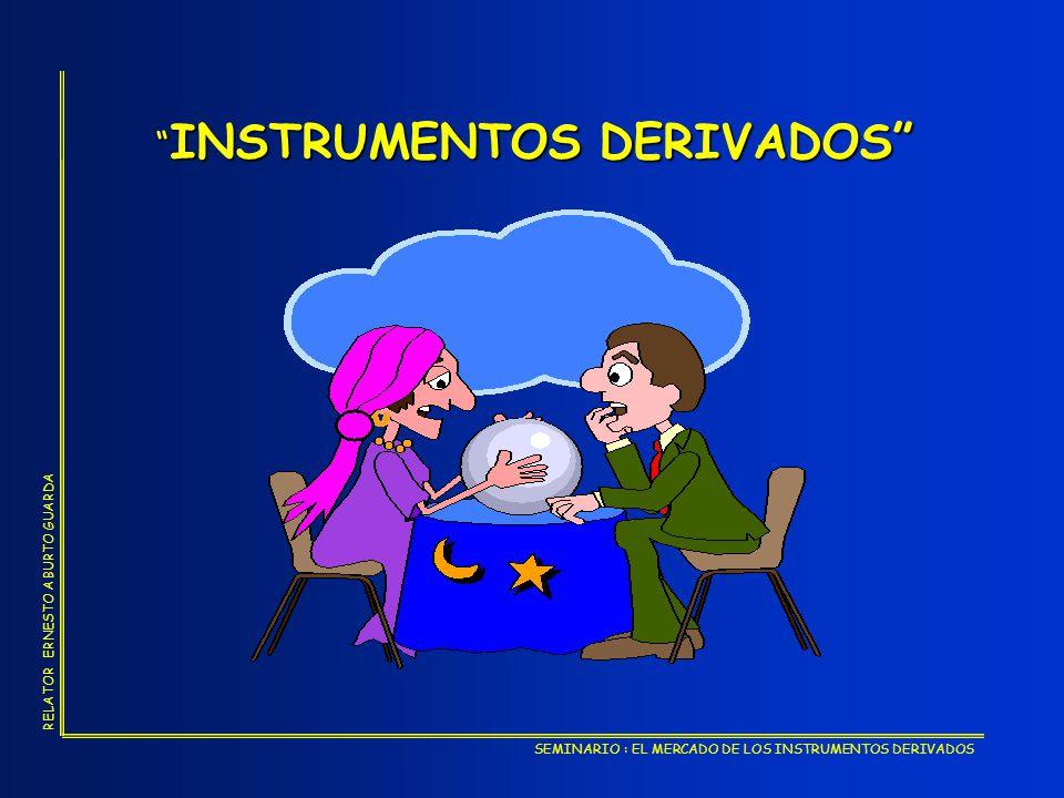 SEMINARIO : EL MERCADO DE LOS INSTRUMENTOS DERIVADOS RELATOR ERNESTO ABURTO GUARDA - CONDICIONES MACROECONOMICAS EN NUESTRO PAIS - DESARROLLO MERCADOS FINANCIEROS MUNDIALES INTERCAMBIO COMERCIAL FINANCIERO R I E S G O S DERIVADOS
