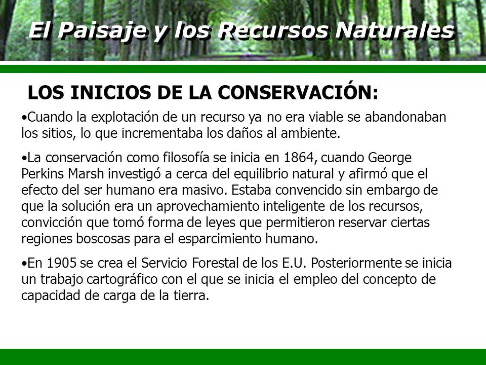 El Paisaje y los Recursos Naturales Cuando la explotación de un recurso ya no era viable se abandonaban los sitios, lo que incrementaba los daños al a