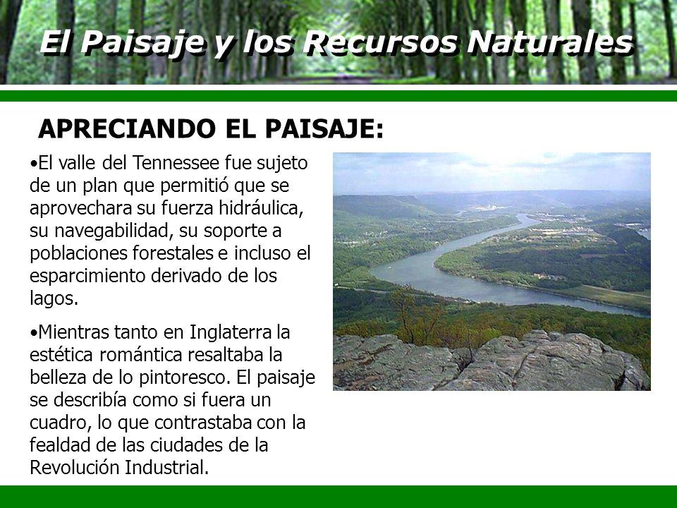 El Paisaje y los Recursos Naturales El valle del Tennessee fue sujeto de un plan que permitió que se aprovechara su fuerza hidráulica, su navegabilida