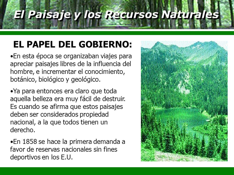 El Paisaje y los Recursos Naturales En esta época se organizaban viajes para apreciar paisajes libres de la influencia del hombre, e incrementar el co