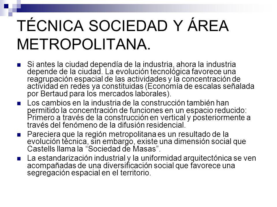 TÉCNICA SOCIEDAD Y ÁREA METROPOLITANA. Si antes la ciudad dependía de la industria, ahora la industria depende de la ciudad. La evolución tecnológica