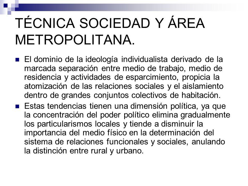 TÉCNICA SOCIEDAD Y ÁREA METROPOLITANA. El dominio de la ideología individualista derivado de la marcada separación entre medio de trabajo, medio de re